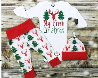 Boys Christmas Outfit,Baby Christmas Outfit,My First Christmas,Boys Deer Outfit,Baby Boy Christmas Outfit,Newborn Boy Coming Home Outfit