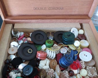 Vintage Buttons Lot Sets in Royal Jamaica Cigar Box Wood Storage Bulk DIY Supplies