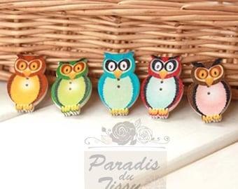 5 x buttons Animal OWL