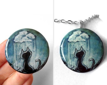 Black Cat Pendant, Rain Cloud Necklace, Raindrops, Pet Painting, Resin Jewelry, Painted Wood Art, Pet Owner Gift for Her