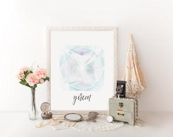 Zircon December Birthstone Printable Art // handlettered, modern calligraphy // home art, office, nursery, wall print // Peachpod Paperie
