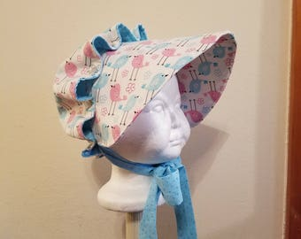 Baby Girls Button Bonnet, Pink and Turquoise, 0 - 6 Months