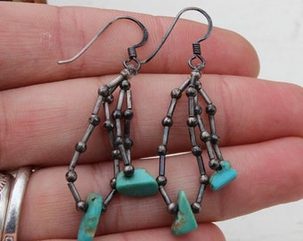 Vintage Native American Old Pawn Navajo Sterling Silver Southwestern Chunky Turquoise and Coral Dangle Earrings