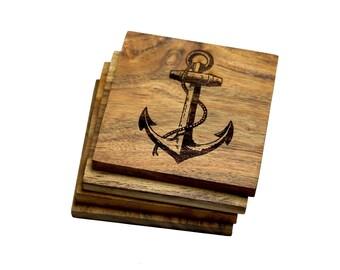 Nautical Inspired Anchor Coasters - Set of 4 Engraved Acacia Wood Coasters