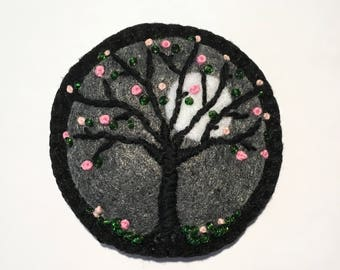 Felt Moonlit Tree Brooch