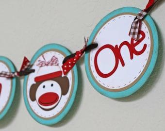 Sock Monkey Banner / High Chair banner - I am One banner, sock monkey theme