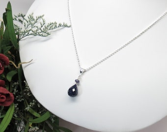 Blue Sapphire Pendant Necklace, Blue Gemstone Necklace In Sterling Silver, September Birthstone Necklace, Keira's Crystal Cretions