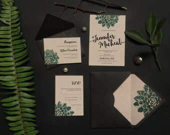 Succulent Wedding Invitation - Bohemian Wedding Invitation -Rustic Wedding Invitation - Kraft Paper Wedding Invitation - Floral Teal Green
