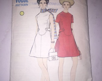 Vintage Vogue 7807 Sewing Pattern, High-fitted A-line Dress, 1960s Dress Pattern, Bust 36, Size 14, Original