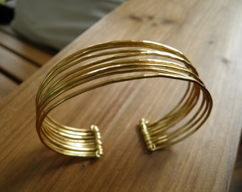 "Bracelet... ""Narrow Roads"" hammered brass bracelet."