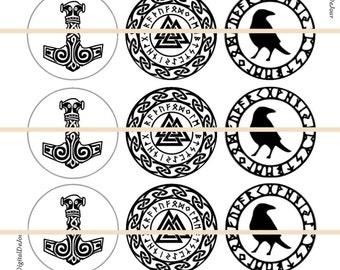 """Viking Pins, Viking Magnets, Norse Magnets, Norse Pins Badges, Viking Norse Pins, Thors Hammer, 1"""" Inch Flat or Hollow Backs, Cabochons,12ct"""