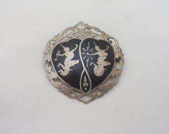 Vintage Siam Sterling Silver Brooch, Large Siam Silver Brooch