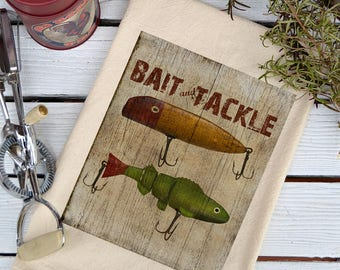 Flour Sack Towel, Flour Sack Dish Towel, Flour Sack Kitchen Towels, Tea Towels, Kitchen Towel Set, Dish Towels, Lake House Gift, Bait Tackle