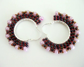 Beaded Earrings / Hoop Earrings  / Sterling Silver Earrings /  Brick Stitch Earrings / Seed Bead Earrings in Rubi andPink  / Beadwork