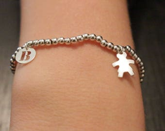 Silver Pearl with letter and boy/girl charms bracelet