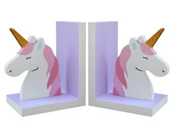 Unicorn Bookends - Wooden Unicorn Bookends