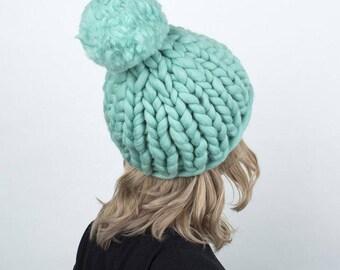 Mint Pom Pom Hat SALE, Winter Hat, Beanie, Beanie Hat, Women Hat, Knit Beanie, Pom Pom Beanie, Pom Pom Hat, Wool Hat, Womens Knit Hat