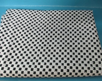 Vintage lightweight  black and white check pattern cotton fabric  2 yards 9 inch dress or blouse fair condition
