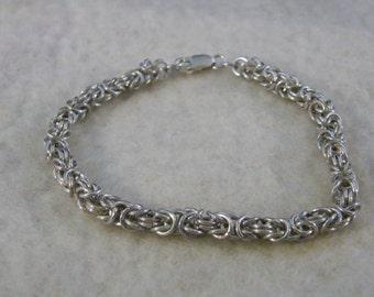 Byzantine chain bracelet of solid silver