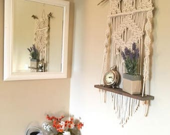 Uncomplicated Diamond Macrame Wall Shelf
