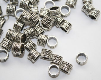 Spacers, Antique Pewter Silver Bead Spacer, Tube Spacer, Large Hole - 9x6mm - 20ct - #509