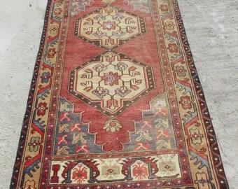 4 by 8 rug, Vintage Oushak Rug, Vintage Rug, Oushak Area Rug, Turkish Vintage Rug, Oushak Rug, Area Rug, Kitchen Rug, Boho Rug, Low Pile Rug