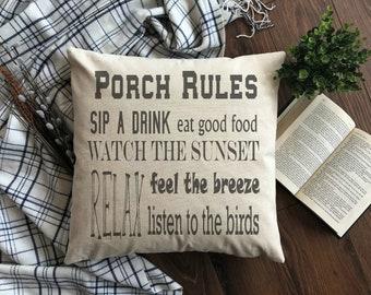 Porch Rules Cotton Canvas / Burlap Pillow Cover. Burlap Pillow Cover. Porch Pillow Cover. Zipper enclosure. Rustic home decor. Rustic Chic.