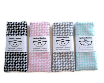 Sunglass or Eyeglass Cases, Designer Houndstooth Fabric, Soft Padded Sunglass / Eyeglass Pouches, Birthday Gift Teen Girls and Women