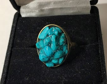 Turquoise and antique bronze, size 7.5 ring