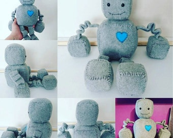 Cute little robot plush, robot soft toy, handmade to order robot, different colours available