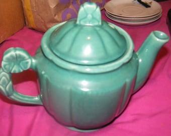 Shawnee Teal Rosette Teapot 1940's