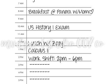 Today By The Hour   Daily A5 Planner Printable