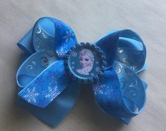 Disney princess boutique hair bow girls hair bow blue ribbon