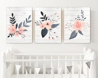 WATERCOLOR Floral Wall Art, Watercolor Flower Artwork, Pink Navy Girl Nursery Decor, Floral Wood Design Artwork, Set of 3 Canvas or Prints