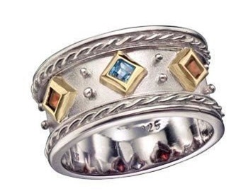 Mothers Ring, three birthstones ring, sterling silver ring, gold ring, two tones ring, garnet ring, citrine ring - Dreaming in colors R1141
