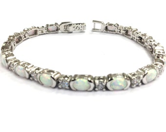 Fine Art deco style white gilson opal bracelet 925 sterling silver
