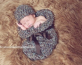 Hat and Cocoon Newborn Photo Prop in BROWN BLUE Photography Baby 2 pc Hat and Cocoon Infant Girl Boy Photo shoot all babies The Perfect Gift