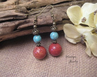 Red Sponge Coral and Turquoise Magnesite Earrings, Gemstone Earrings, Gemstone Jewelry, Dangle Earrings, Long Earrings, Boho Earrings
