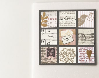 Handmade Card - Collage, Birds, Romantic, Love Note - Ballet Pink, Charcoal, Bronze - Handmade I love you card