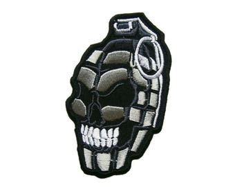 Bomb Iron On Patch Skull Embroidered Applique Jeans Patches For Jackets