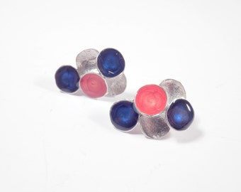 blue post earrings red silver studs dark blue studs geometric jewelry enamel earrings multicolor earrings art jewelry