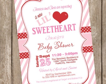 Lil Sweetheart Baby Shower Invitation, pink, red, stripe, hearts, lil' sweetheart, printable invitation
