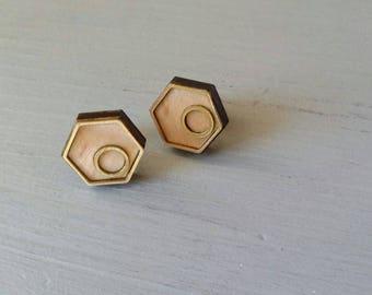 Handmade Stud Earrings, Maple, Brass Inlay, One-of-a-kind, Hexagon, Circle