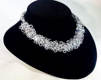 The Shag Necklace in Sterling Silver with so Swarovski Crystal accent