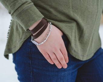 """Silver Bead Leaf and Repurposed Brown Leather Wrap Bracelet 7.5"""""""