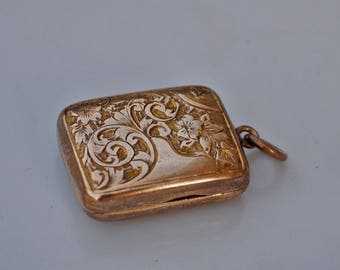 Antique Small Victorian Brass Rectangular Photo Locket