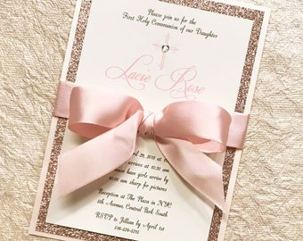 Rose Gold Communion Invitation Girl Communion Rose Gold Glitter Invitation