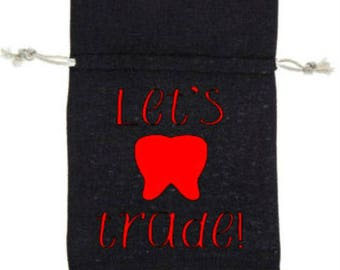 Tooth Fairy Bag - Pick your COLOR of writing! - Tooth Storage Bag