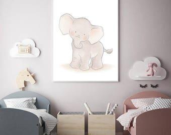 ElephantWall Art,Elephant Nursery Decor,Elephant Baby Animal Art,Elephant Children.Elephant Baby Boy Baby Girl Decor,Baby Elephant Baby Art
