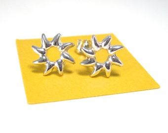 Sun Earrings, Sunburst Silver Stud Earrings, Sunny Summer Jewelry, Sun Studs